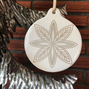 Snowflake Ornament | Hand Painted Gold & White Porcelain Christmas Decor