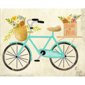 Teal Bicycle Illustration | Flower Wall Art Decor Tracey Capone Photography