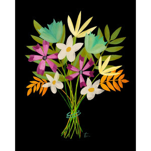 Teal Orange and Yellow Floral Bouquet Illustration | Home Wall Decor Tracey Capone Photography