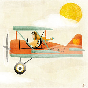 Vintage Airplane Illustration | Aviator Wall Art | Nursery Home Decor