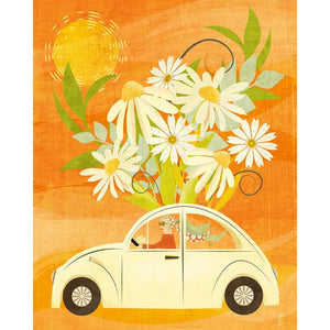 Vintage VW Bug Illustration | Floral Home Decor | Beetle Art