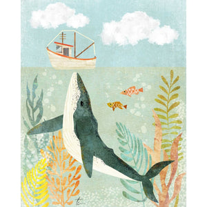 Whale Illustration | Nautical Home Decor | Sea Life Tracey Capone Photography