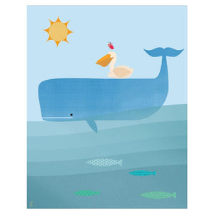 Whale Illustration | Pelican Wall Art | Nautical Home Decor Tracey Capone Photography