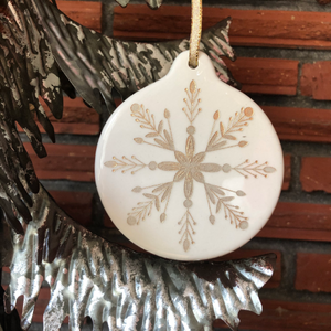 White & Gold Porcelain Snowflake Ornament | Christmas Decor
