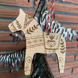 Wood Dala Horse Ornament | Scandinavian Floral Christmas Decor