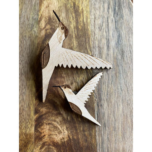Wood Hummingbird Pin | Laser Engraved Bird Art