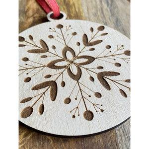 Wood Snowflake | Engraved Christmas Ornament