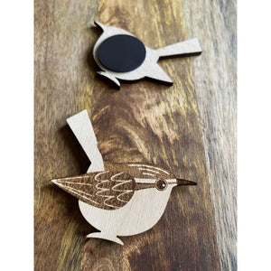 Wood Wren Magnet | Laser Engraved Bird Art