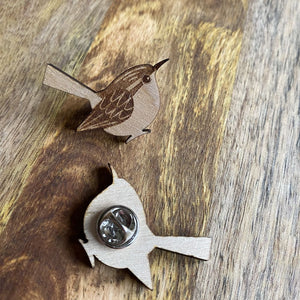 Wood Wren Pin | Laser Engraved Bird Art