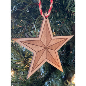 Wooden Engraved Star Christmas Ornament | Holiday Decor