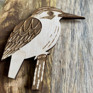 Wooden Kingfisher Magnet | Laser Engraved Bird Art