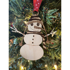 Wooden Snowman Ornament | Laser Engraved Christmas Decor