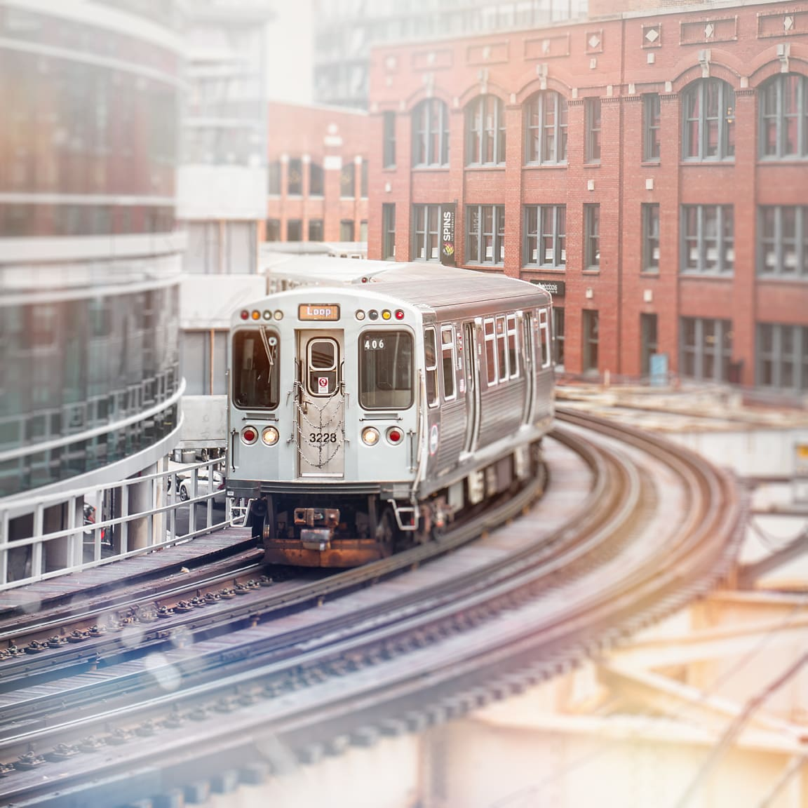 Brown line loop train heading towards the Merchandise Mart. Chicago photography by local artist Tracey Capone
