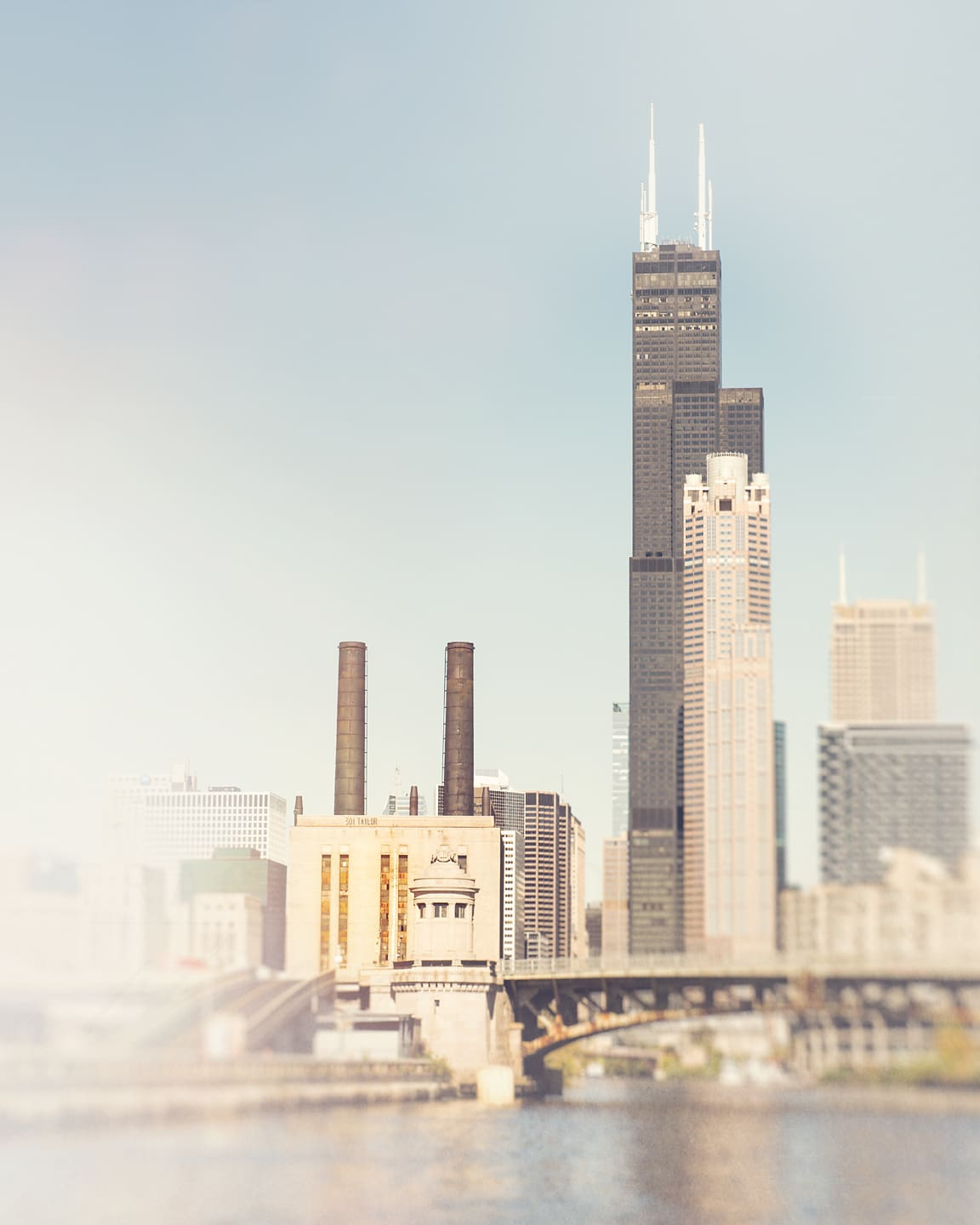 Photograph of the Sears Tower and the Union Station Power House as seen from the Chicago River, by Tracey Capone