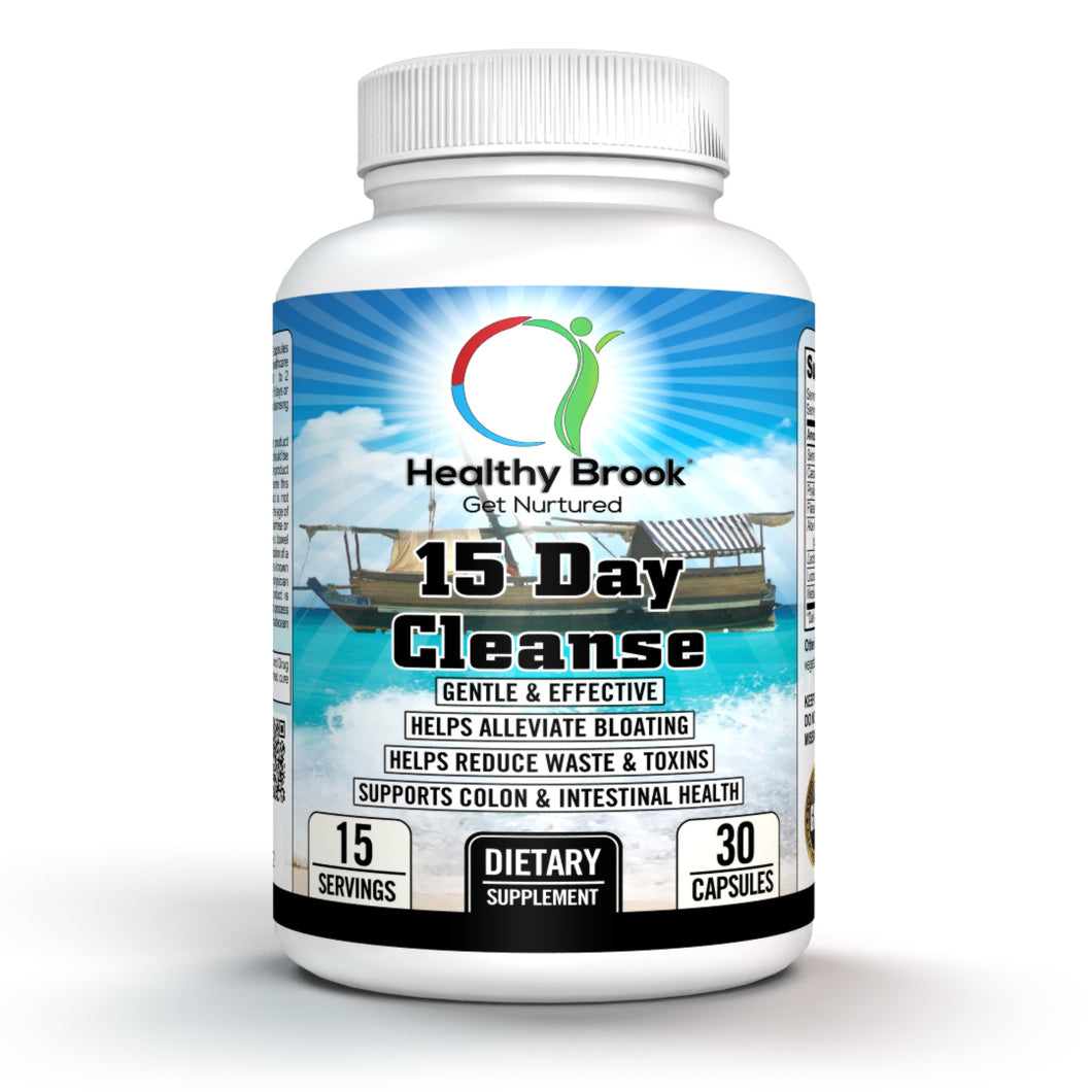 Healthy Brook 15 Day Cleanse 30 capsules 15 Day Colon Cleanse and Detox for Weight Loss Supplement Herbs and Probiotics for Digestive Cleansing Support Flushes Out Toxins Relieves Bloating and Constipation - Healthy Brook