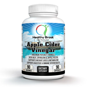 Healthy Brook Apple Cider Vinegar 90 capsules Maximum Potency Formula with Kelp, Spirulina and Apple Pectin Supports Weight Loss Metabolism Detox Cleansing Digestion Circulation Immune System and Well-Being - Healthy Brook