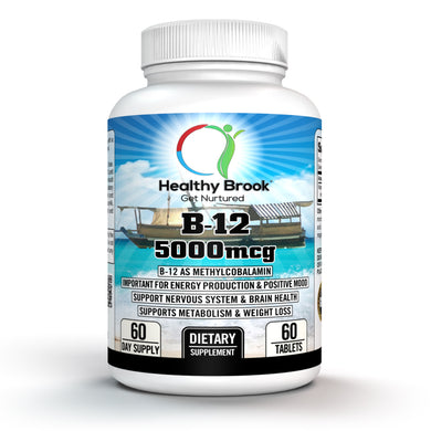Healthy Brook B12 5000mcg Methylcobalamin B-12 Vitamin Supplement 60 tablets Supports Healthy Energy Production Weight Loss Metabolism Mood - Healthy Brook