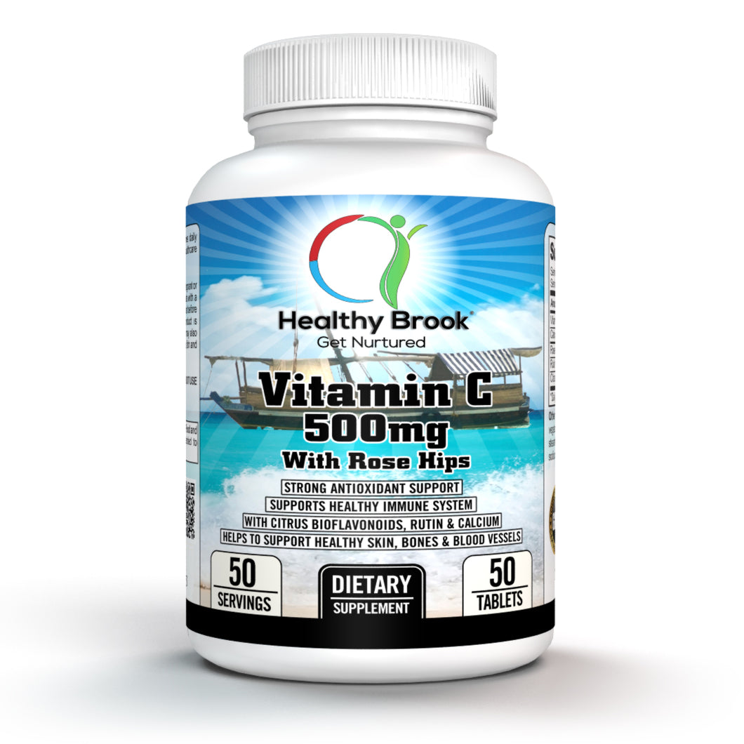 Healthy Brook Vitamin C 500mg With Rose Hips 50 tablets Supplement Plus Citrus Bioflavonoids Rutin Calcium Supports Healthy Immune System Healthy Skin Bones Eyes Blood Vessels Strong Antioxidant Support - Healthy Brook