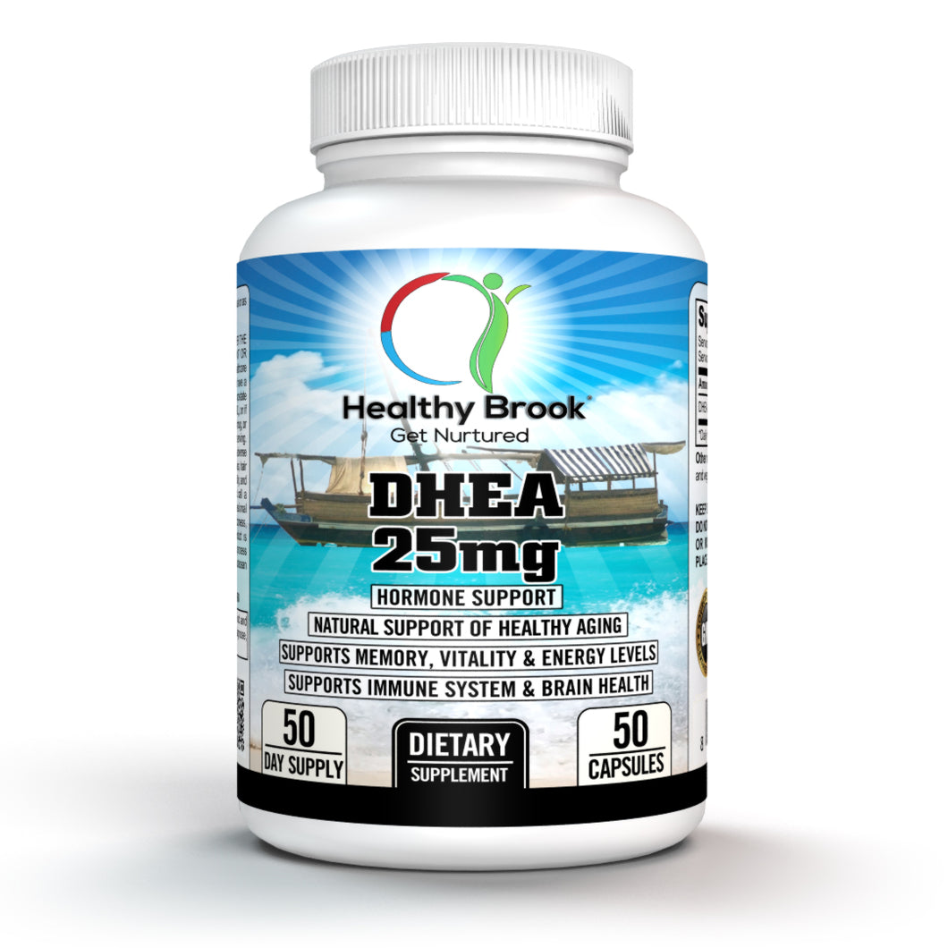 Healthy Brook DHEA 25mg 50 capsules Supports Energy Metabolism Weight Loss Sports Nutrition Testosterone Booster hormonal balance in men and women healthy estrogen and testosterone Level - Healthy Brook