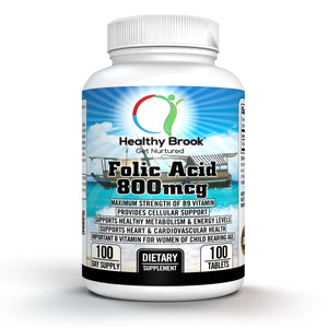 Healthy Brook Folic Acid 800mcg 100 tablets B9 Vitamin Supplement Maximum Strength Supports Healthy Metabolism Boosts Energy Helps with Weight Loss Stress Mood Supports Nerves Blood Vessels Eyes Skin Hair Immunity - Healthy Brook