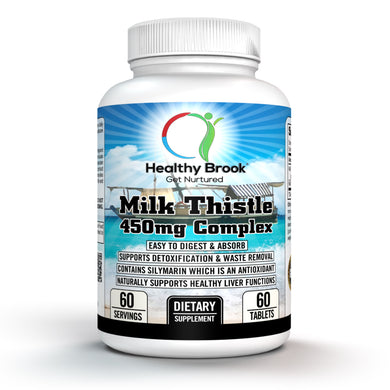 Healthy Brook Milk Thistle 450mg Complex 60 tablets Liver Cleanse and Detox Herbal Supplement Contains Silymarin Easy to Digest and Absorb Supports Detoxification and Waste Removal - Healthy Brook