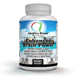 Healthy Brook Enhanced Brain Power 30 capsules Nootropic Brain Booster, Memory Booster, Cognitive Enhancement, Acetyl L-Carnitine, Ginkgo Biloba, Phosphatidylserine, St.John's Wort, Vinpocetine, Huperzine-A - Healthy Brook