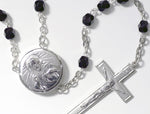 Embossed Sacred Heart Locket Rosary Beads