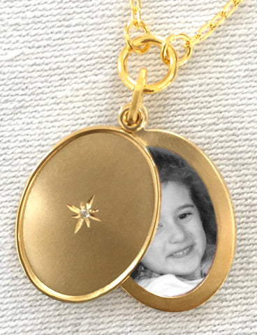My North Star with Diamond Oval Slide Locket Necklace