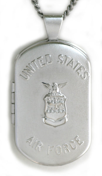 Sterling Silver US AIR FORCE Dog Tag Locket Pendant