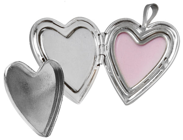 Sterling Silver Pet Heart Memorial Locket with Paw and Pink Heart