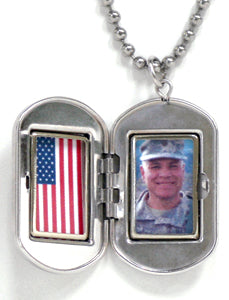 Sterling Silver US ARMY Dog Tag Locket Pendant