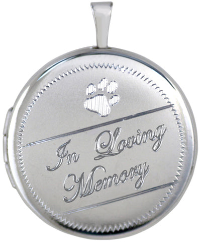 Sterling Silver Round Pet Memorial Loving Memory Locket with Paw