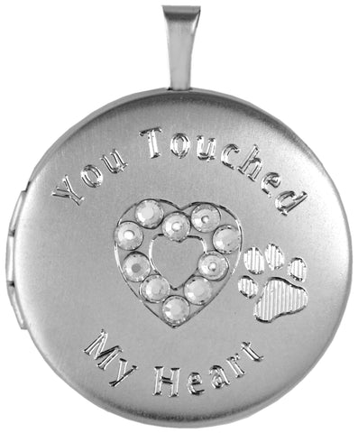 Sterling Silver Round Pet Memorial Locket with Paw and Crystal Heart