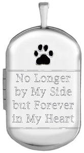 Sterling Silver Pet Memorial Dog Tag Locket with black paw