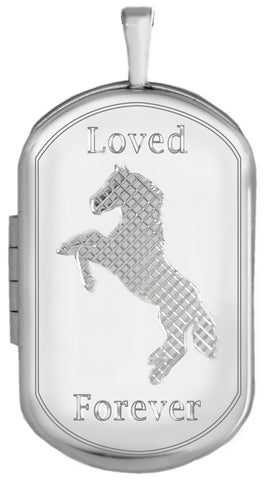 Sterling Silver Horse Memorial Dog Tag Locket