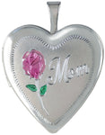 sterling silver mom with rose heart locket
