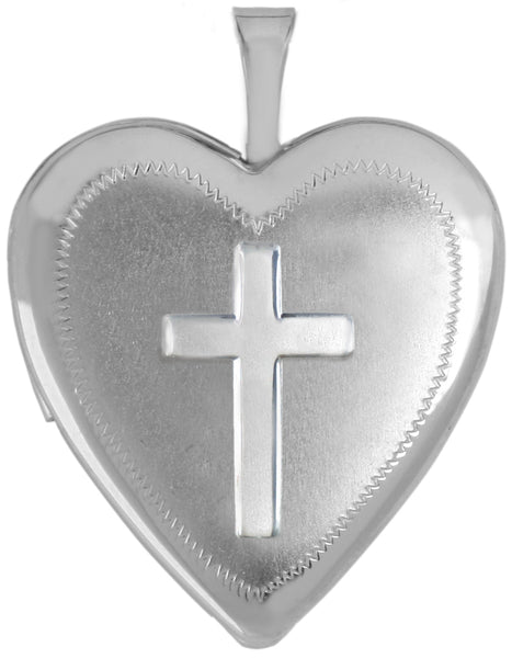 sterling silver 20mm embossed cross locket