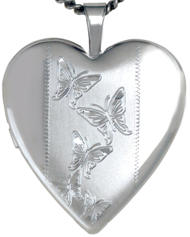 sterling silver butterflies heart locket