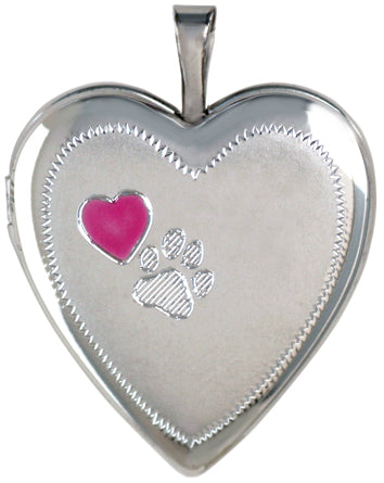 Sterling Silver Pet Heart Locket with Paw and Pink Heart