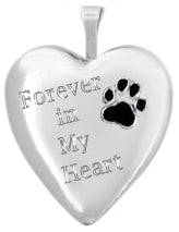 Sterling Silver Pet Heart Locket with Paw