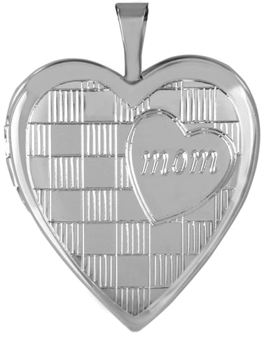 modern mom sterling heart locket