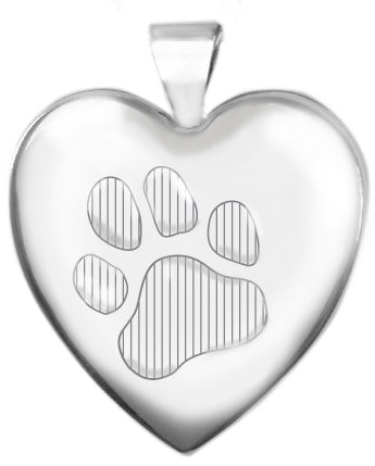 Sterling Silver 25mm Heart Locket with Paw