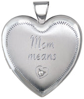 Mom means love diamond heart locket