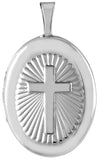 sterling silver embossed cross oval locket
