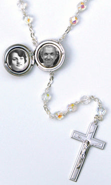 "Holy Spirit Locket Rosary Beads with ""O' Holy Spirit Enlighten Me"" on back of locket"