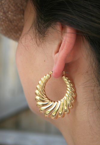 Gold Plate Large Shrimp Hollow Hoop Earrings