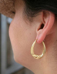 Gold Plate Ribbon Hollow Hoop Earrings