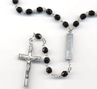 Jet Black Mysteries Austrian Crystal Rosary Beads