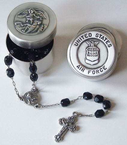 Saint Michael Air Force Rosary Box with Rosary Beads