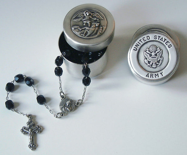 saint michael army rosary box with rosary beads